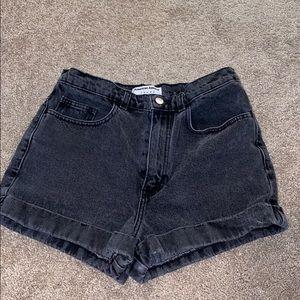 Black high waisted 'mom' shorts